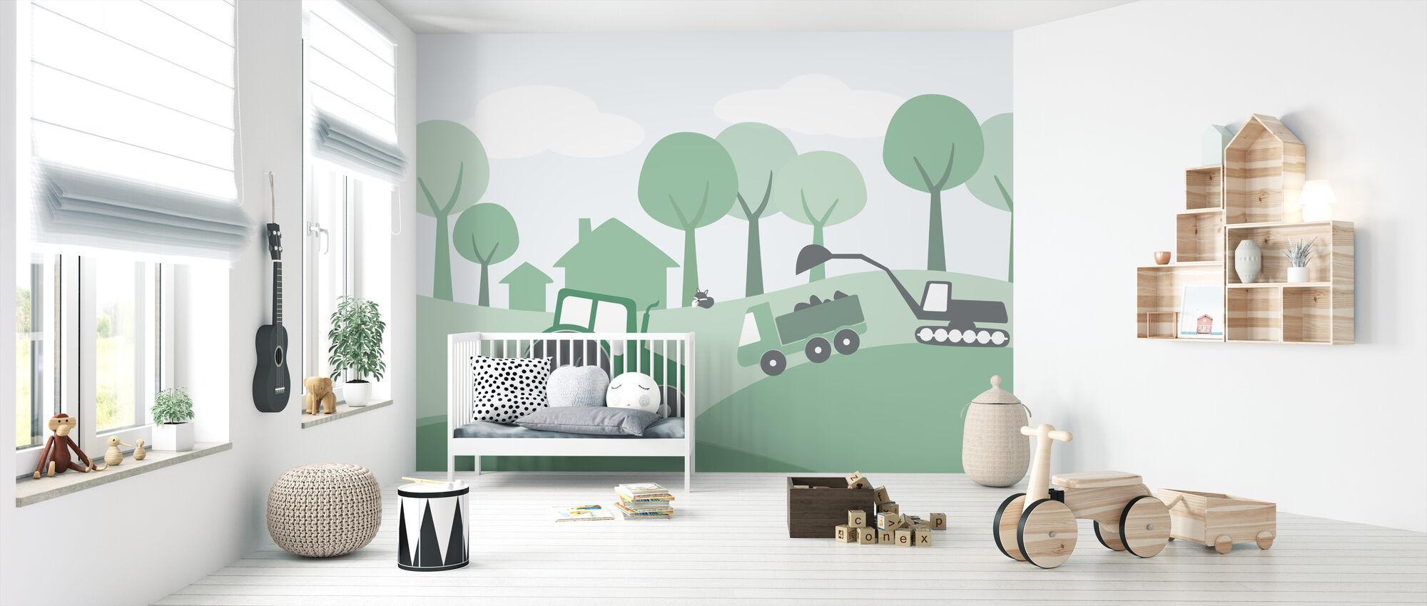 Countryside - Green - Wallpaper - Nursery