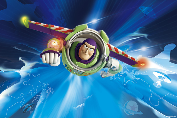 Toy story way out wall mural photo wallpaper photowall for Buzz lightyear wall mural