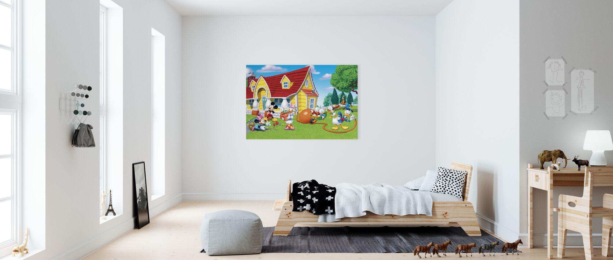 Musse och vänner - Trädgård - Canvastavla - Barnrum
