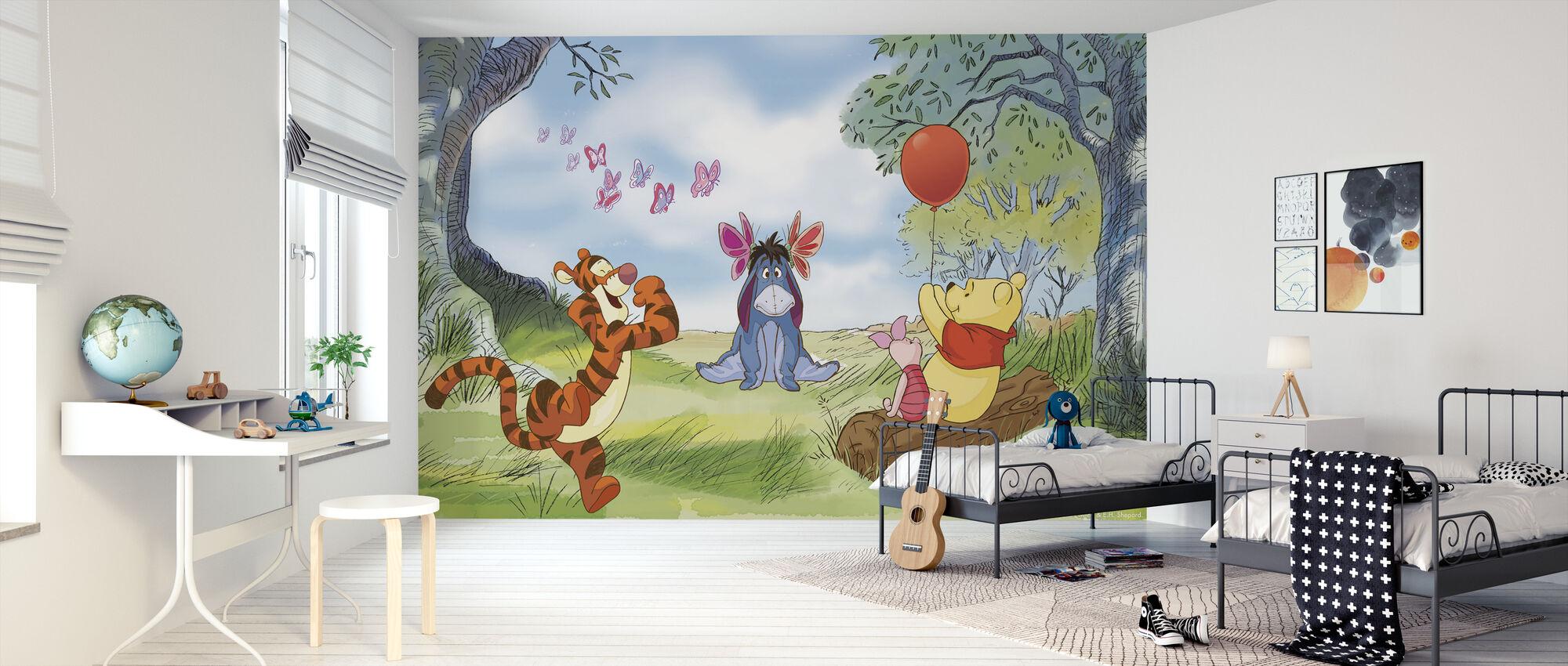 Nalle Puh - Perhoset - Tapetti - Lastenhuone