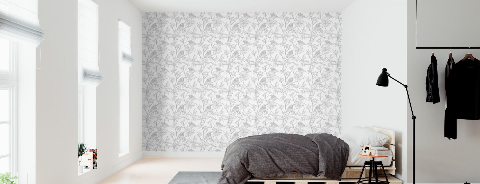 Finch - White - Wallpaper - Bedroom