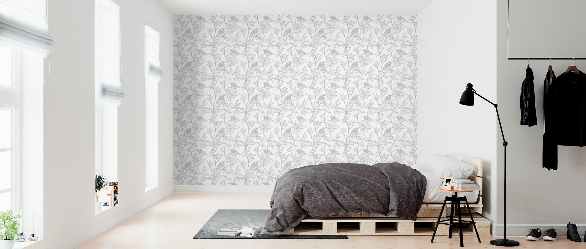 Finch - White - Wallpaper - Bedroom