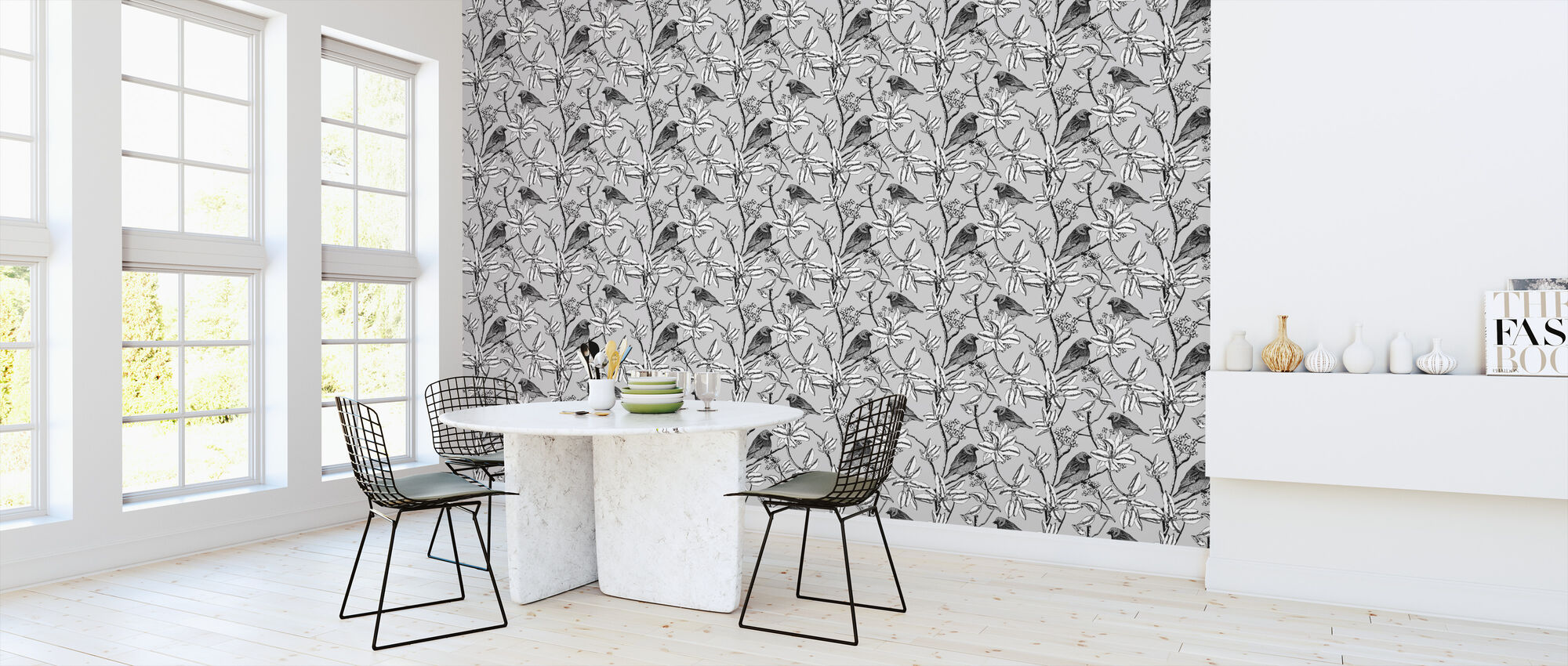 Finch - Grey - Wallpaper - Kitchen