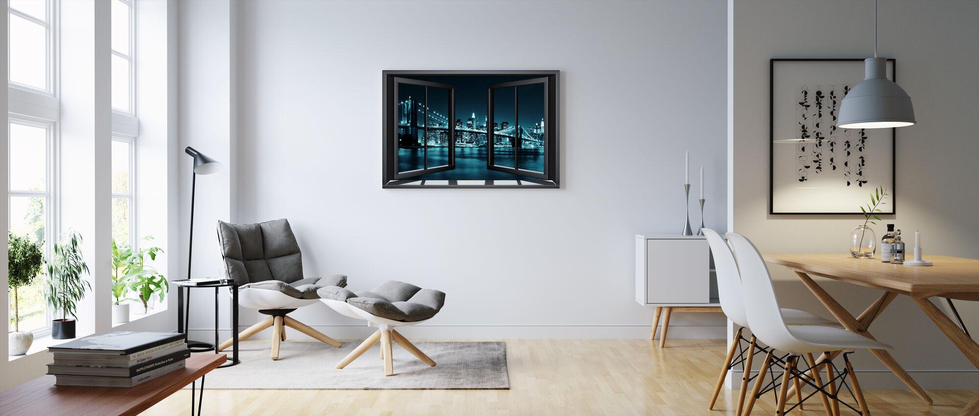 Blue Brooklyn Bridge Through Window - Canvas print - Living Room