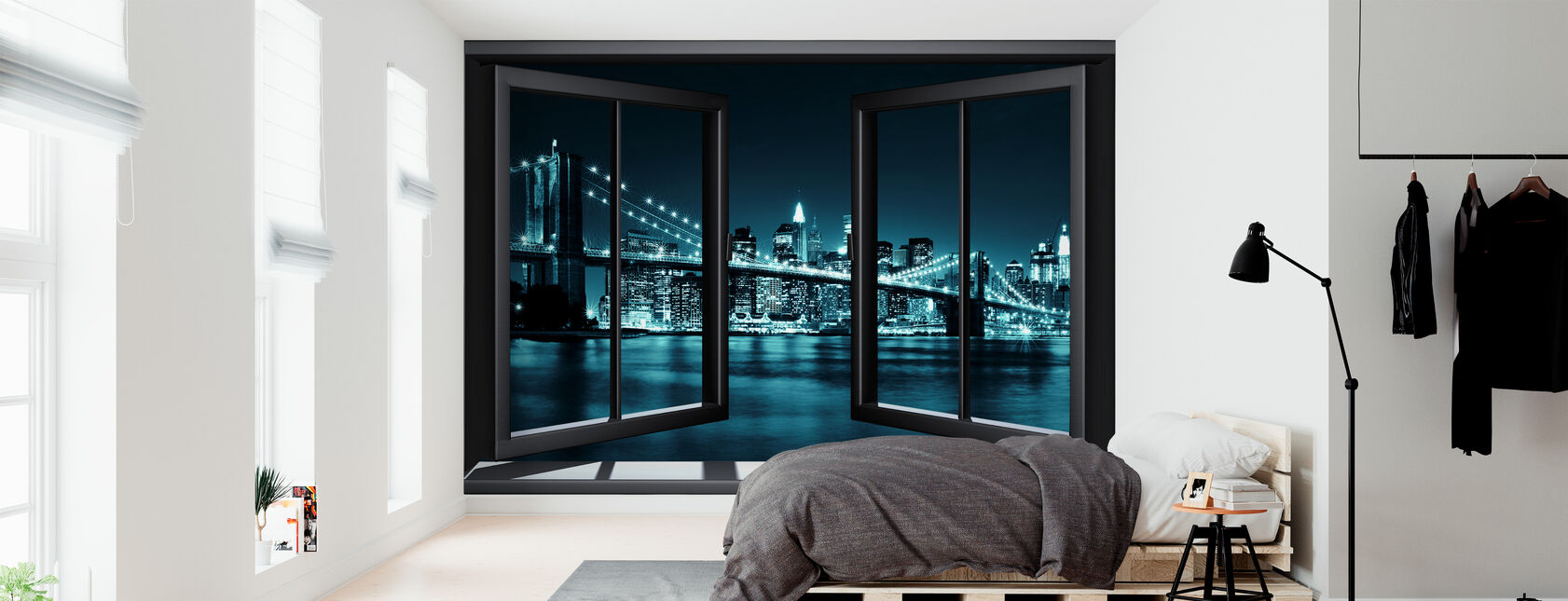 Blue Brooklyn Bridge Through Window - Wallpaper - Bedroom