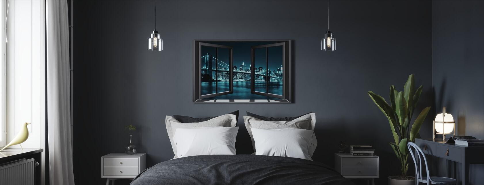 Blue Brooklyn Bridge Through Window - Canvas print - Bedroom
