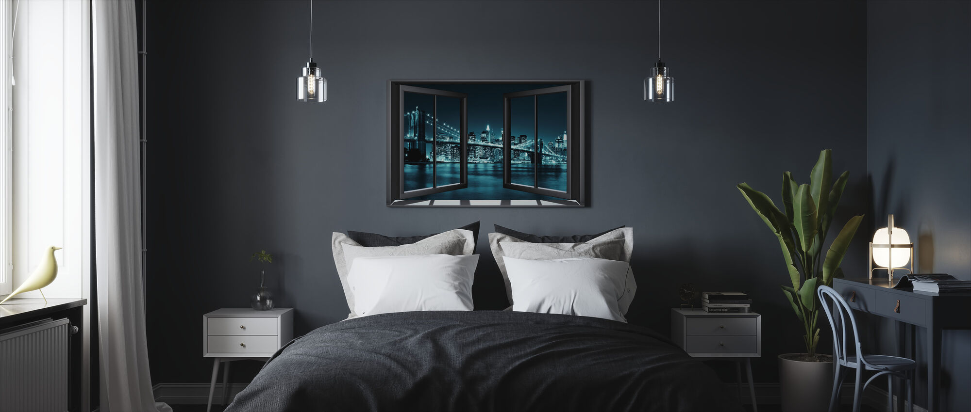 Blue Brooklyn Bridge Through Window - Canvas print - Bedroom