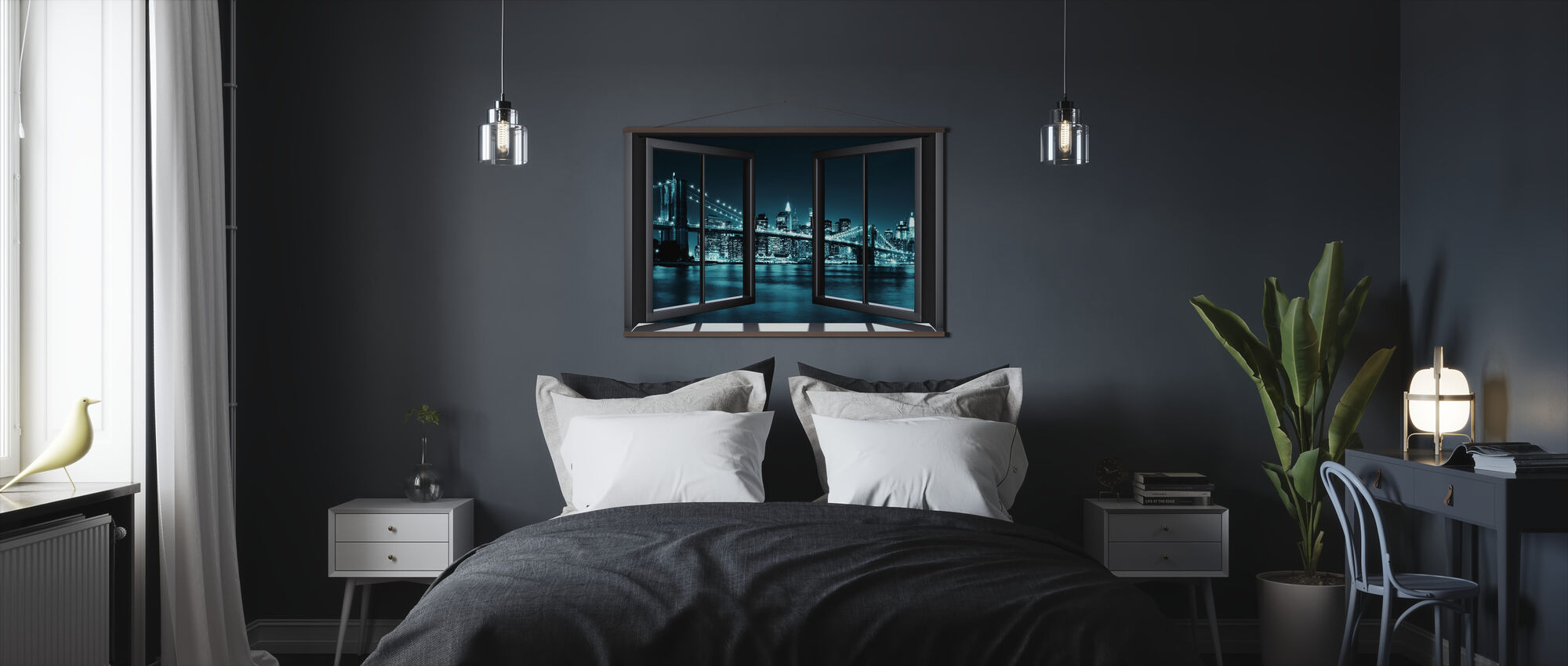 Blue Brooklyn Bridge Through Window - Poster - Bedroom