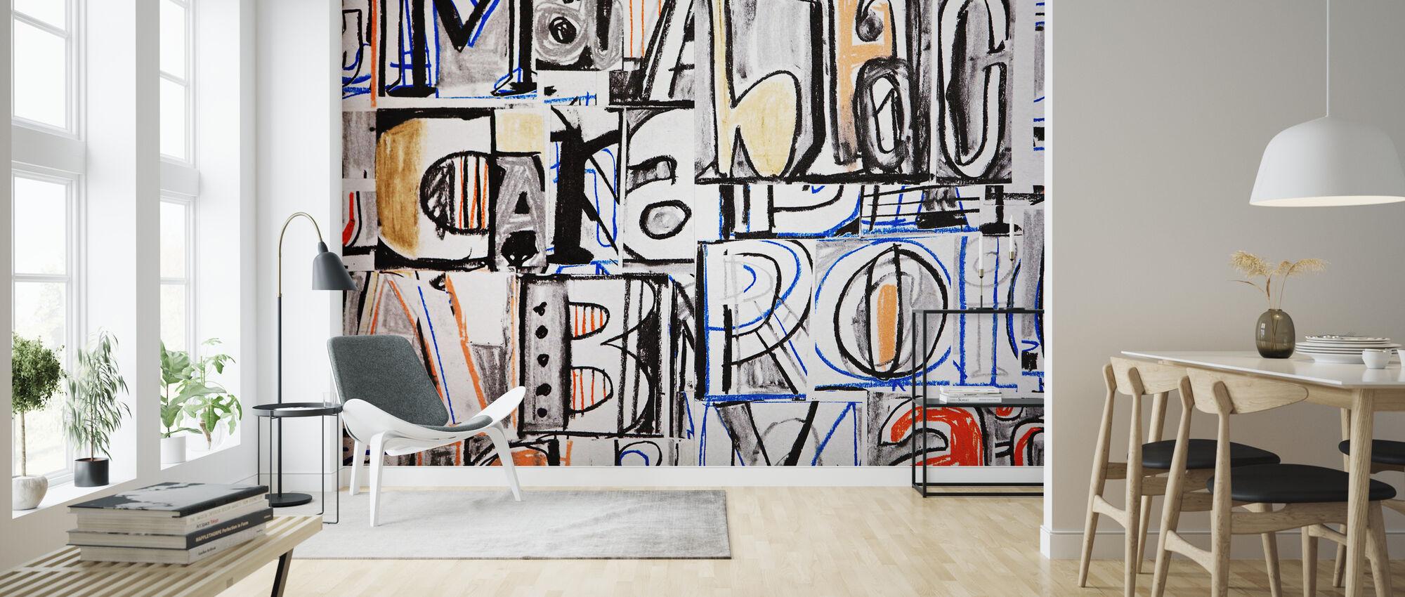 Funky Buchstabe Graffiti - Tapete - Wohnzimmer