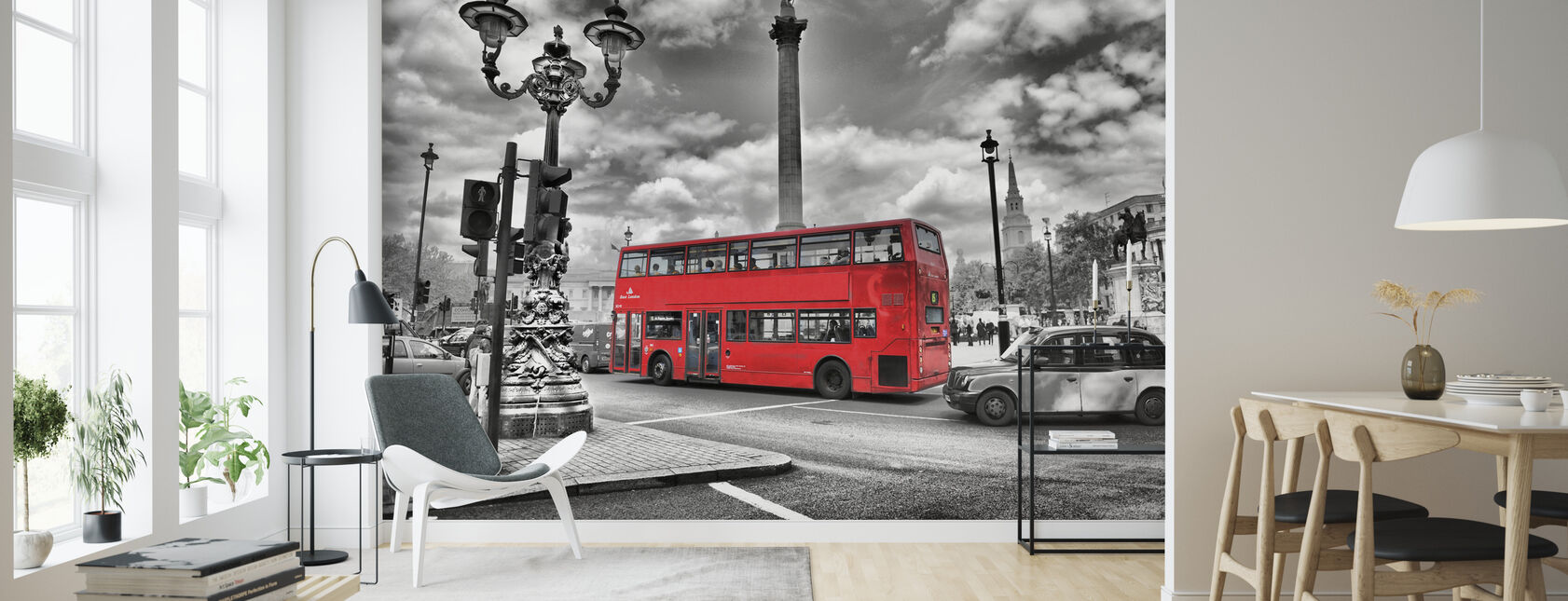 London Bus - Colorsplash - Wallpaper - Living Room