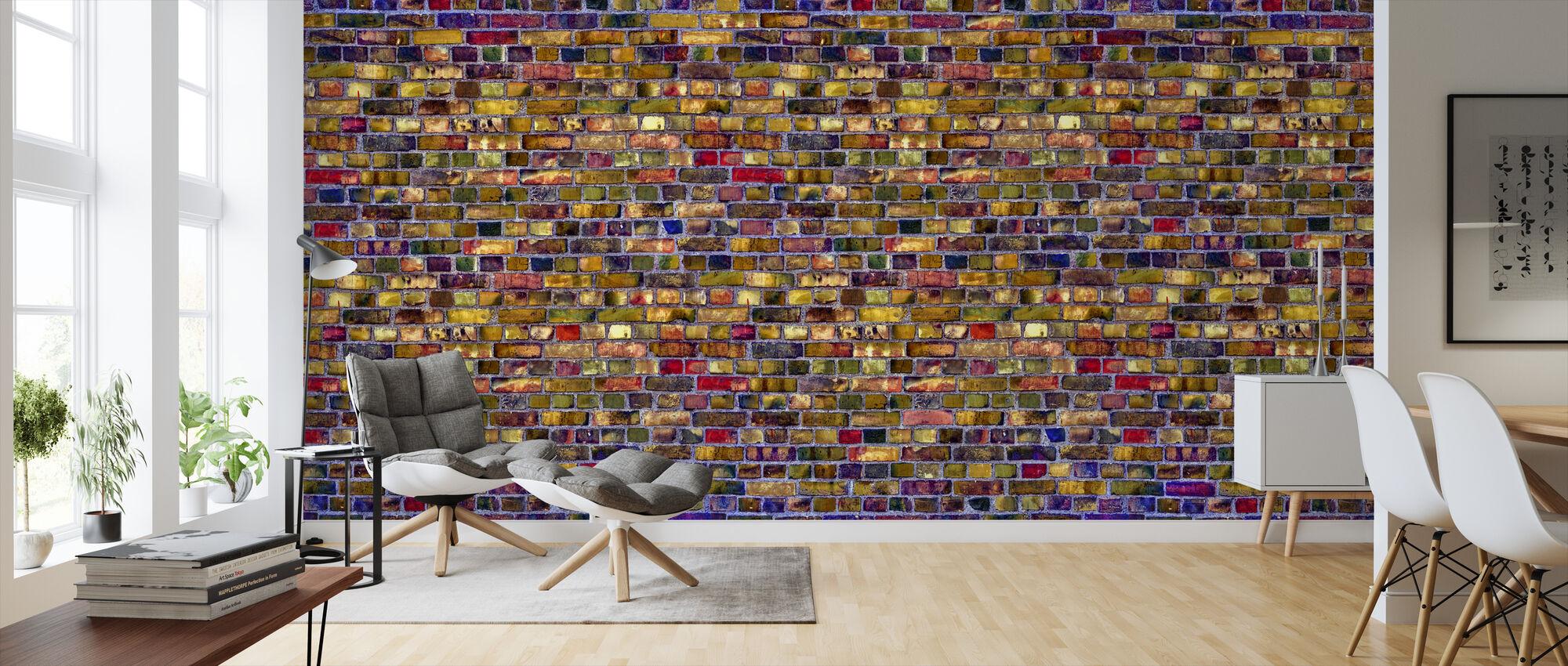 Färgglada tegelvägg - Tapet - Vardagsrum