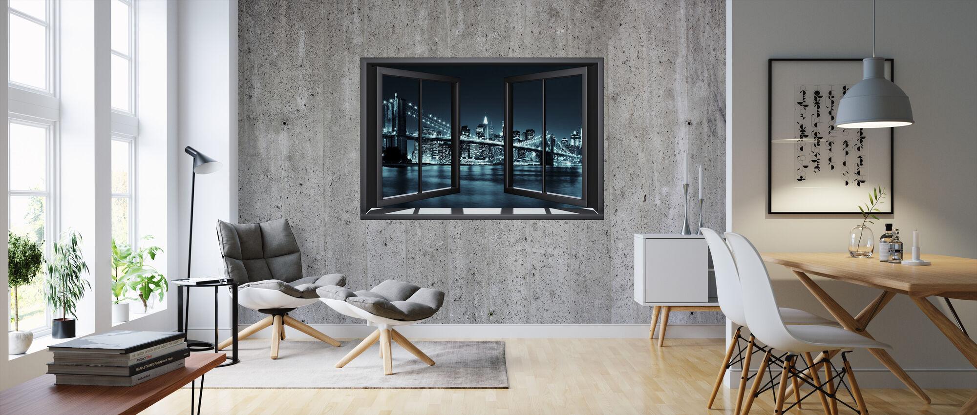 Ikkuna betoniseinä Brooklyn - Tapetti - Olohuone