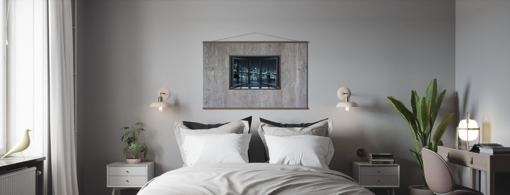 Window on Concrete Wall Brooklyn - Poster - Bedroom