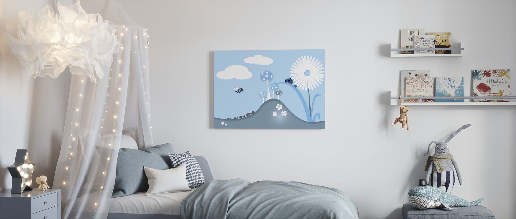 A Bugs World - Blue - Canvas print - Kids Room