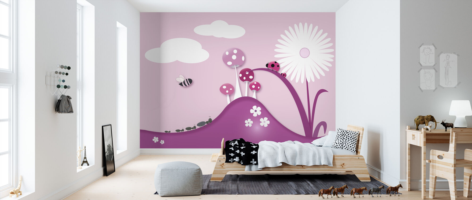 A Bugs World - Pink - Wallpaper - Kids Room