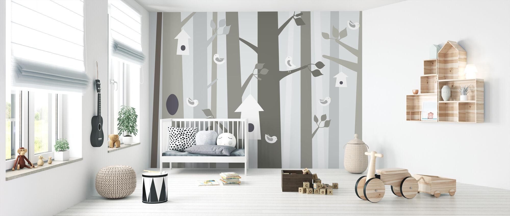 Fugleskov - Beige - Tapet - Babyværelse