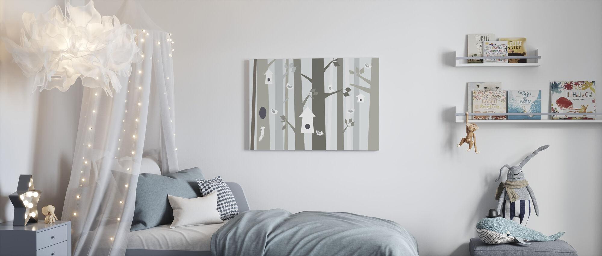 Bird Forest - Beige - Canvas print - Kids Room