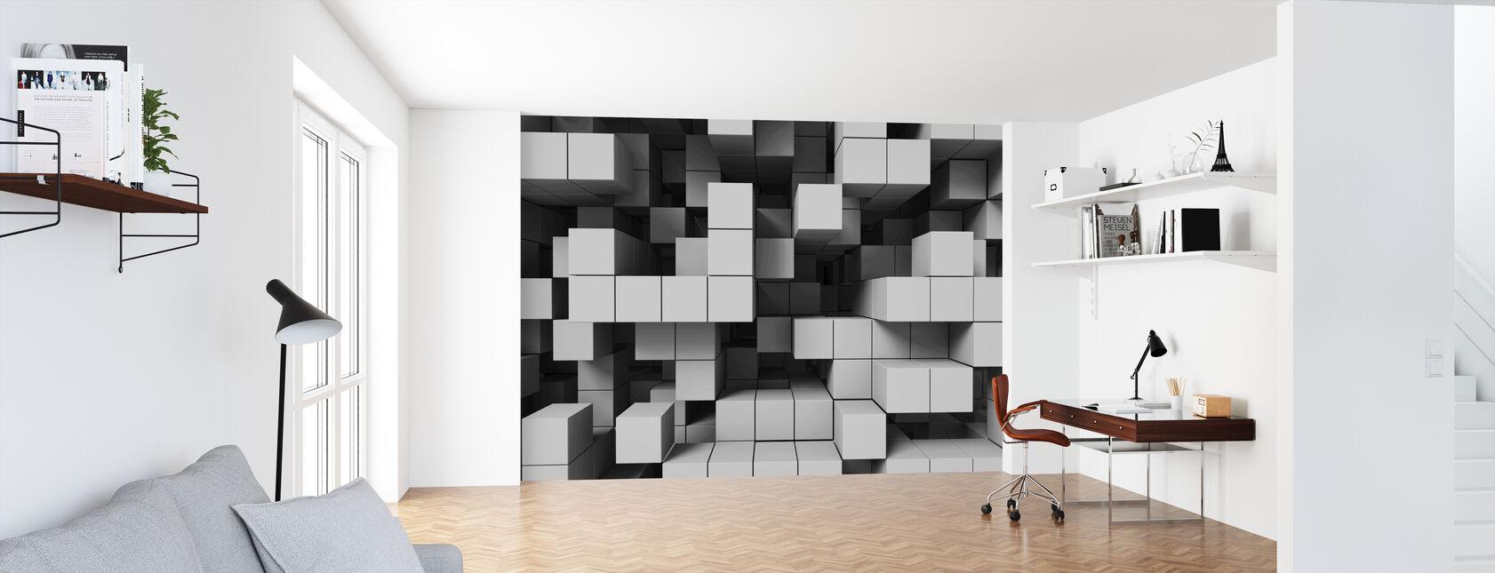 Deep Tetris - Light Grey - Wallpaper - Office
