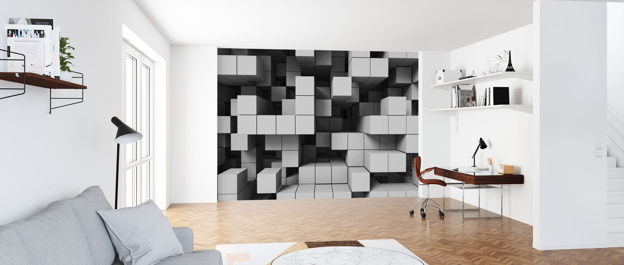 Deep Tetris - Light Grey - Wallpaper - Office