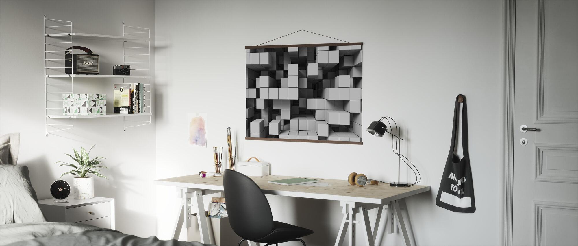 Deep Tetris - Light Grey - Poster - Office