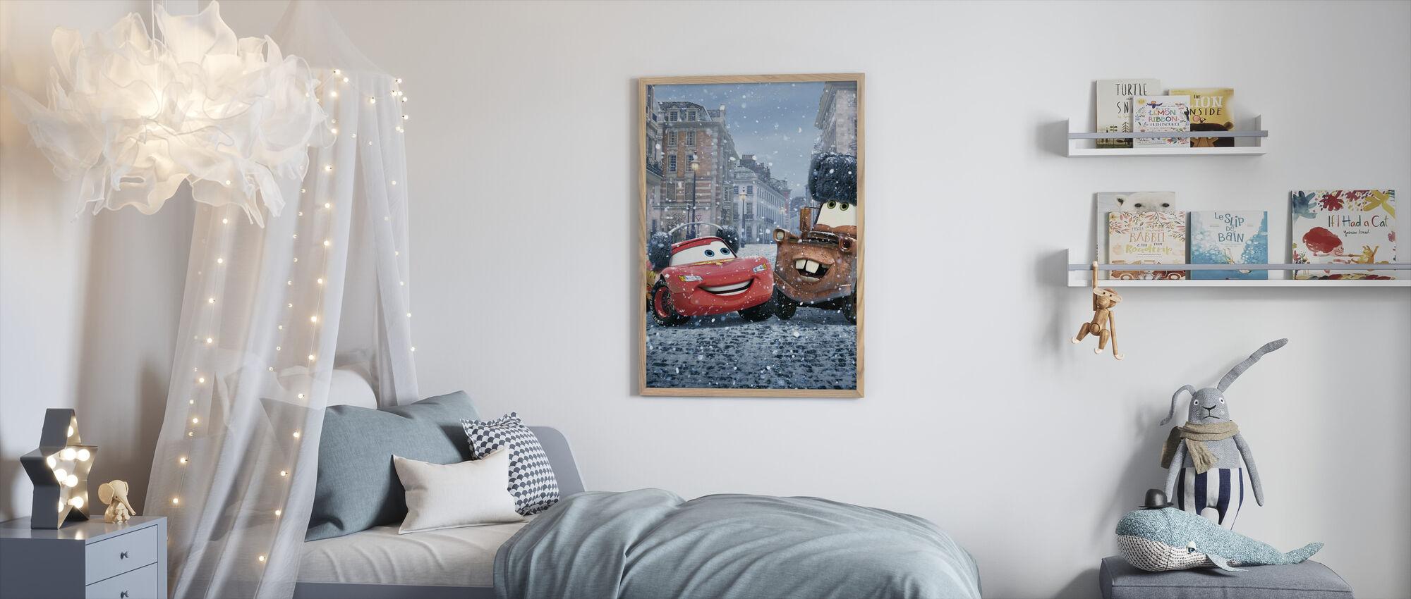 Autot - Salama McQueen Mater - Kehystetty kuva - Lastenhuone
