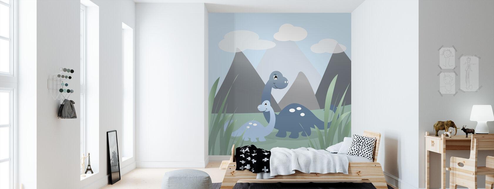 Dinoland - Blue - Wallpaper - Kids Room