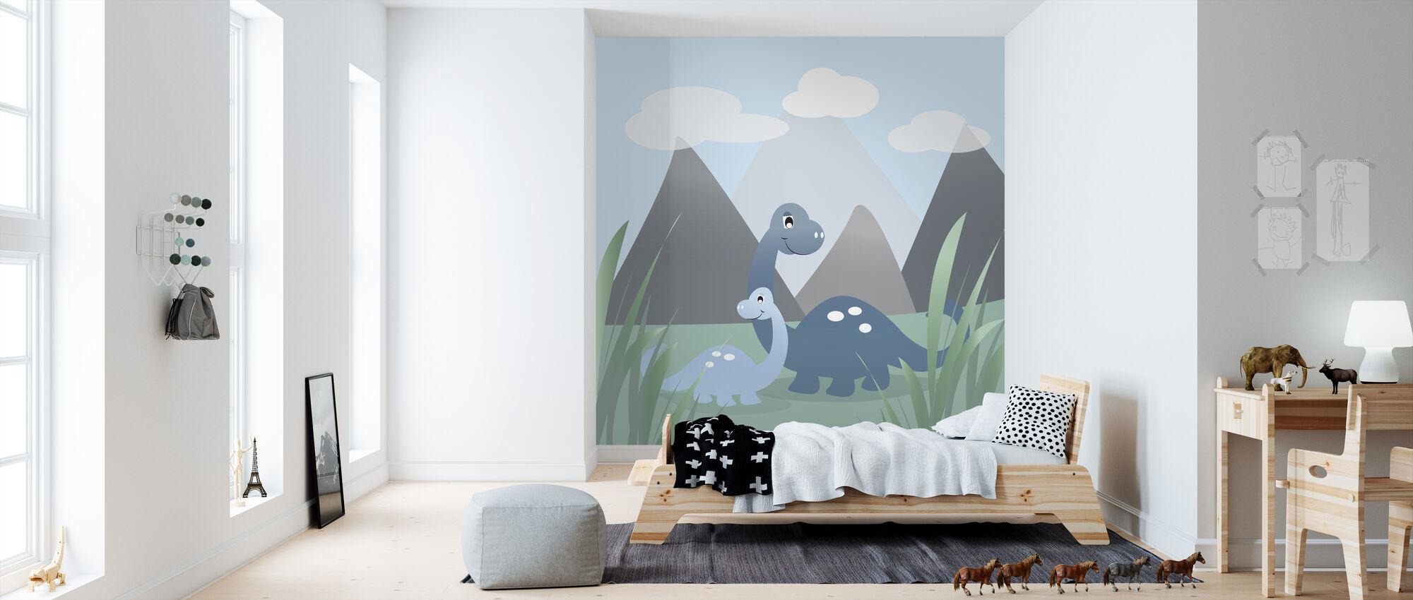 Dinoland - Sininen - Tapetti - Lastenhuone