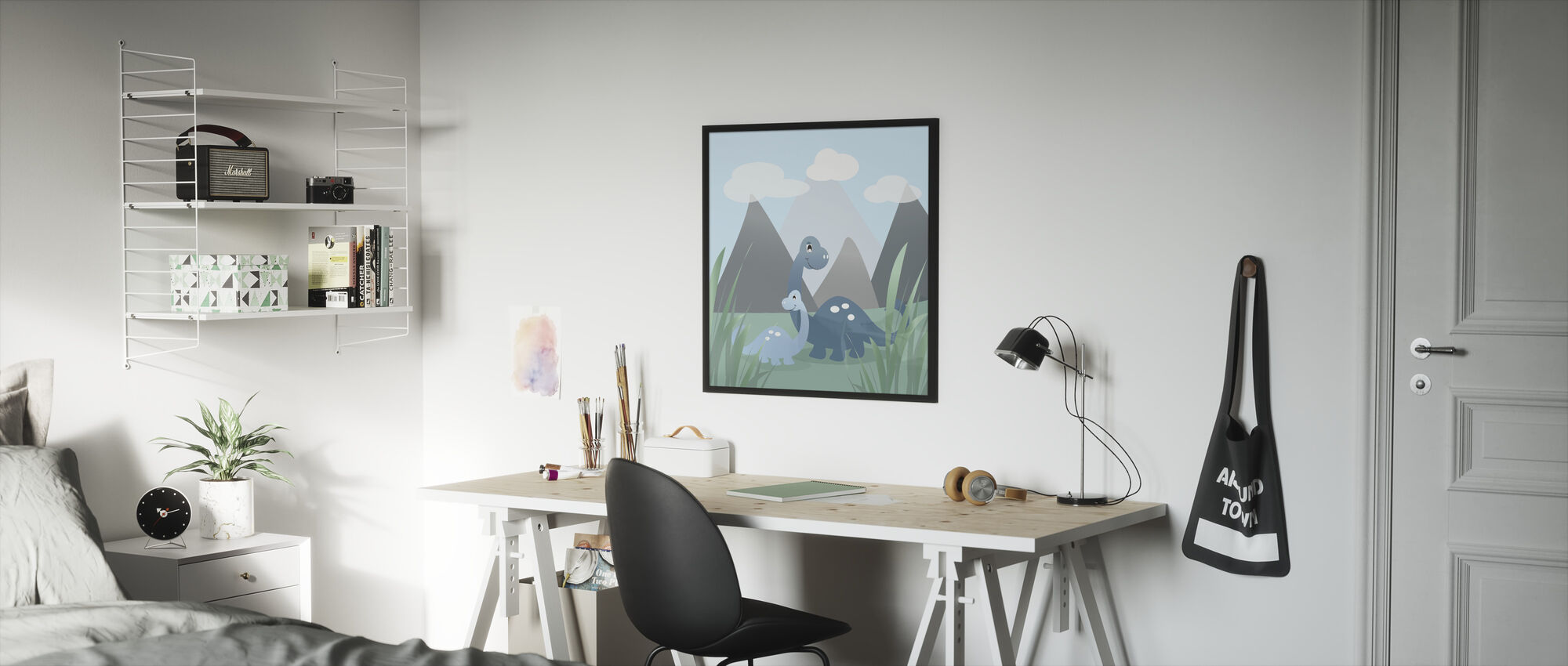 Dinoland - Blue - Framed print - Kids Room
