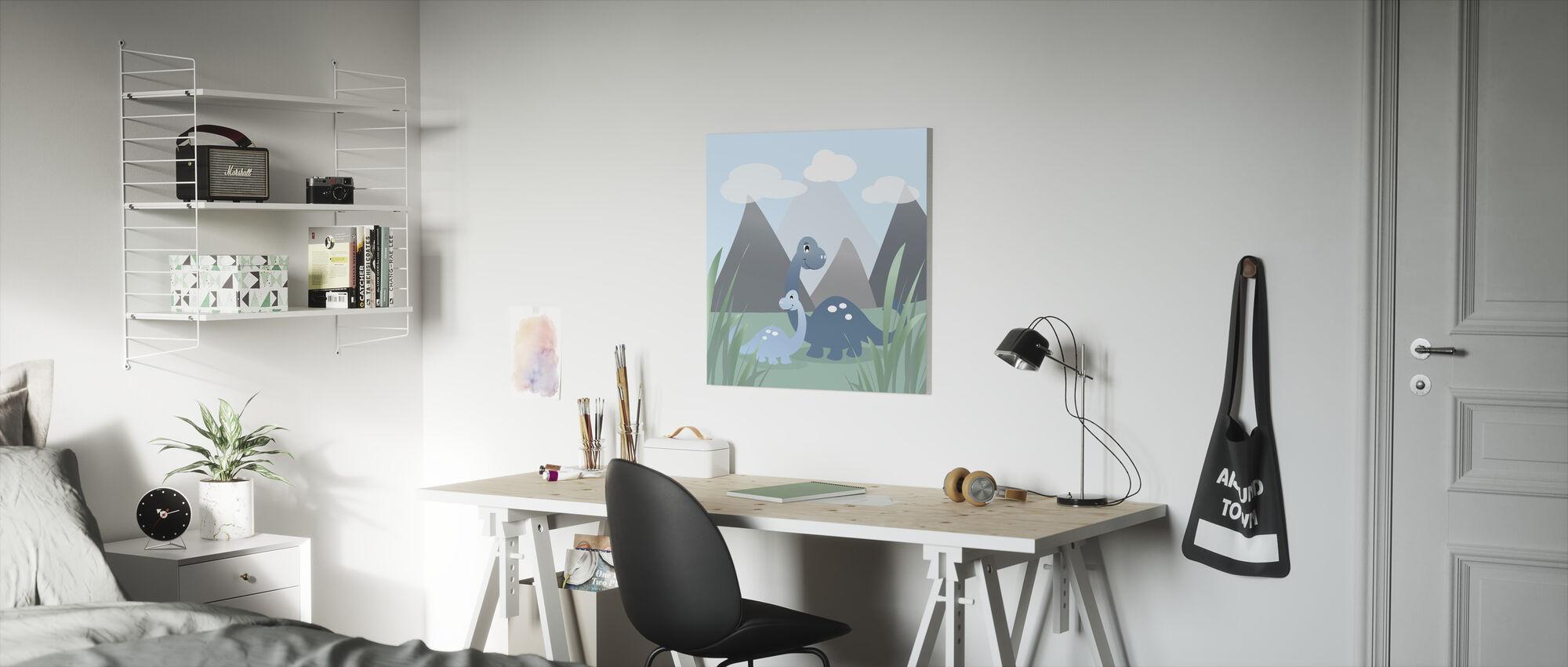 Dinoland - Blue - Canvas print - Kids Room