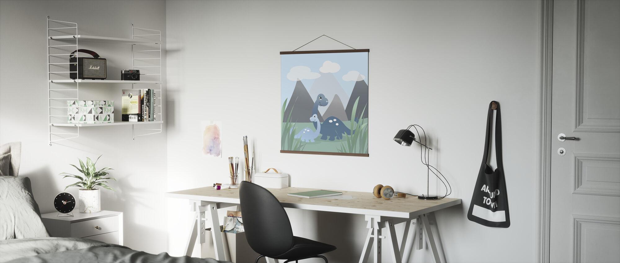 Dinoland - Blue - Poster - Office