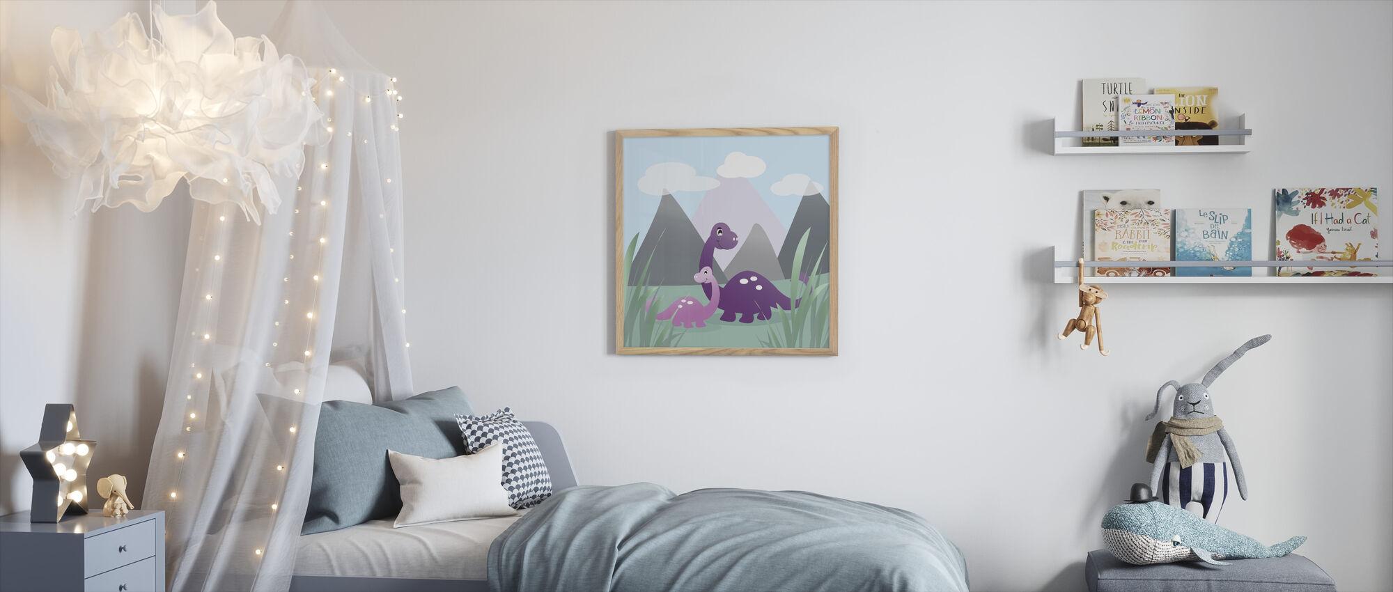 Dinoland - Violetti - Kehystetty kuva - Lastenhuone
