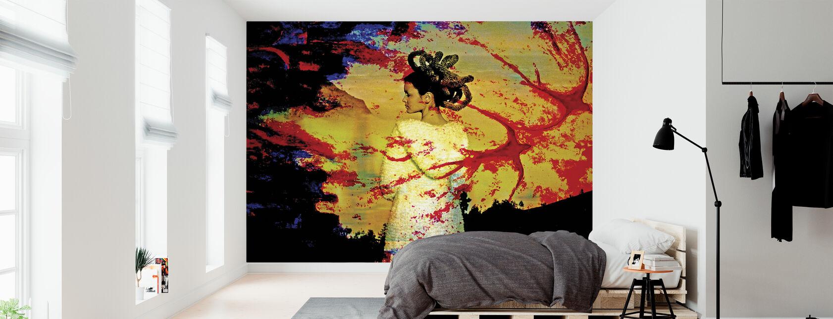 Rød fugl - Tapet - Soveværelse