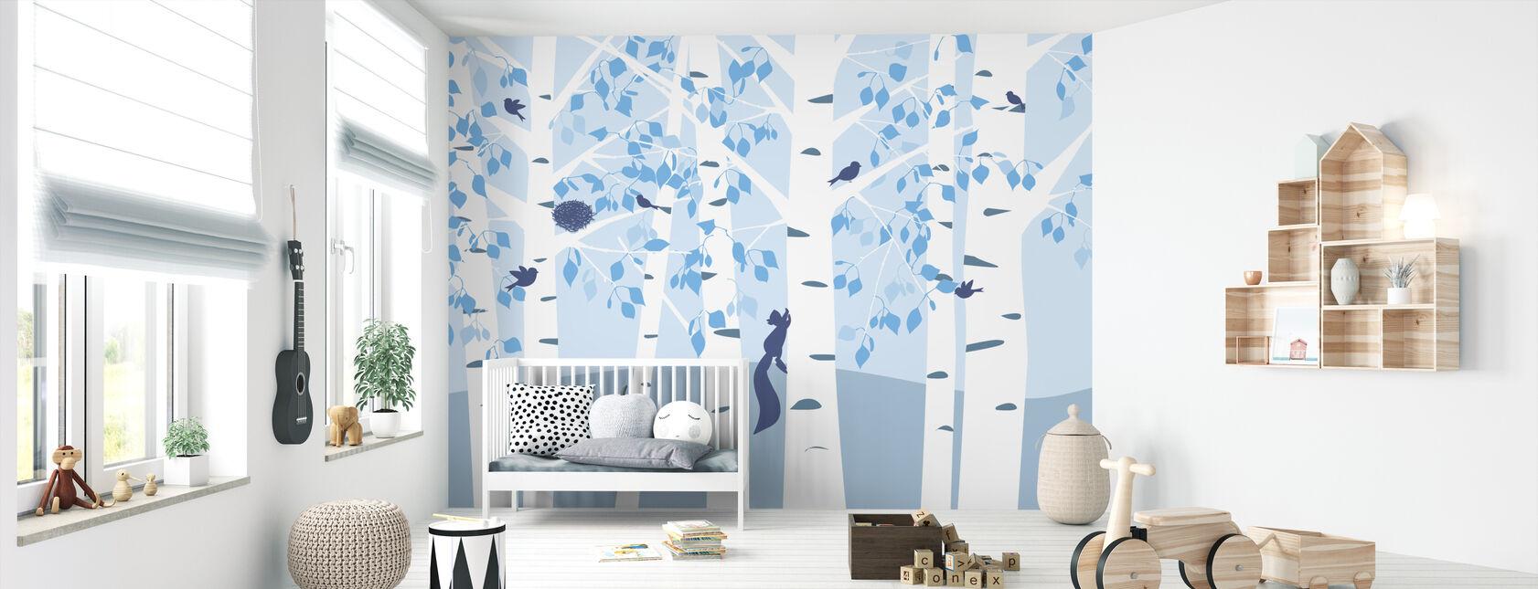Birkeskov - Blå - Tapet - Babyværelse