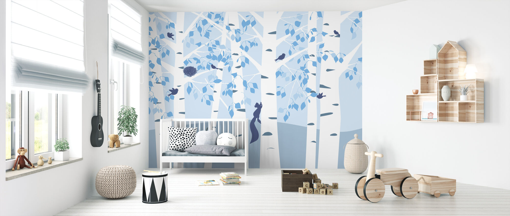 Birch Forest - Blue - Wallpaper - Nursery