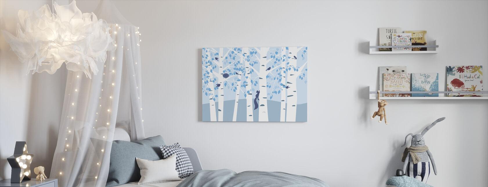 Bosque de Abedul - Azul - Lienzo - Cuarto de niños