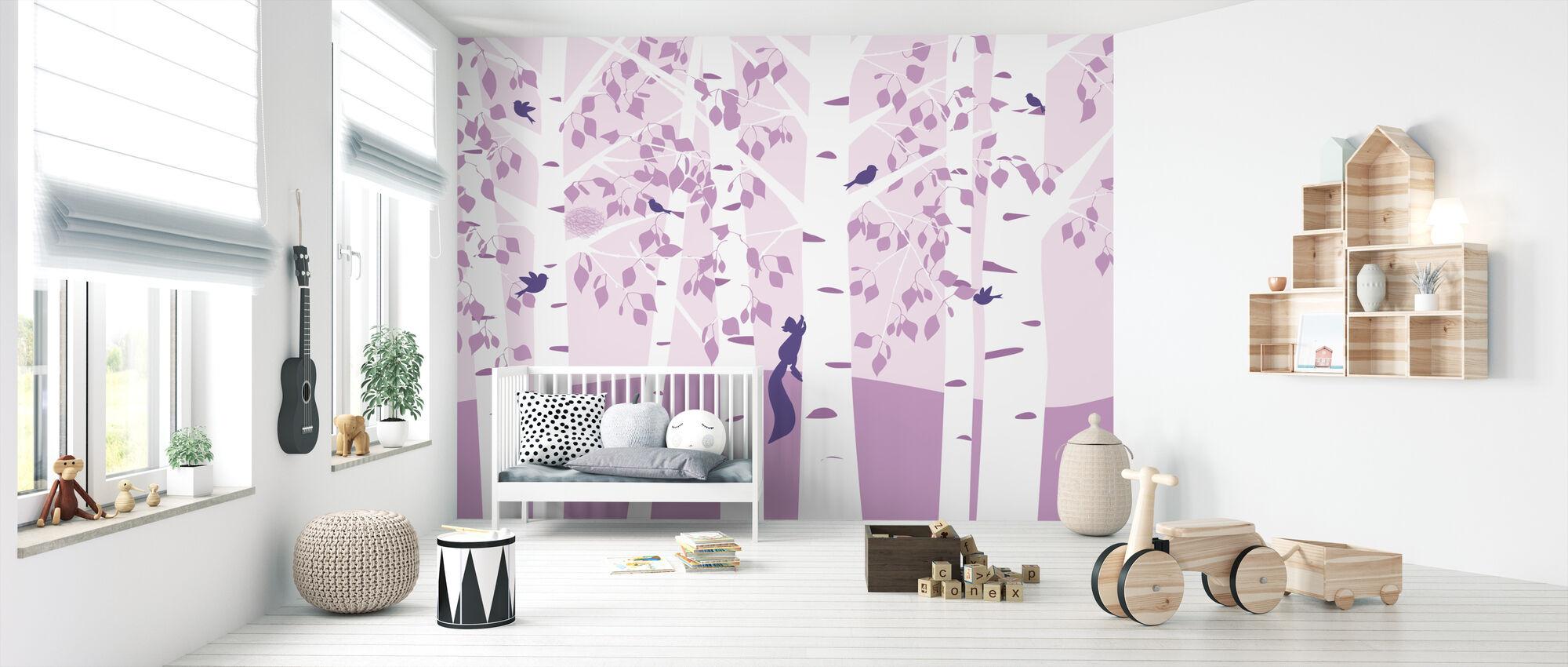 Birch Forest - Pink - Wallpaper - Nursery
