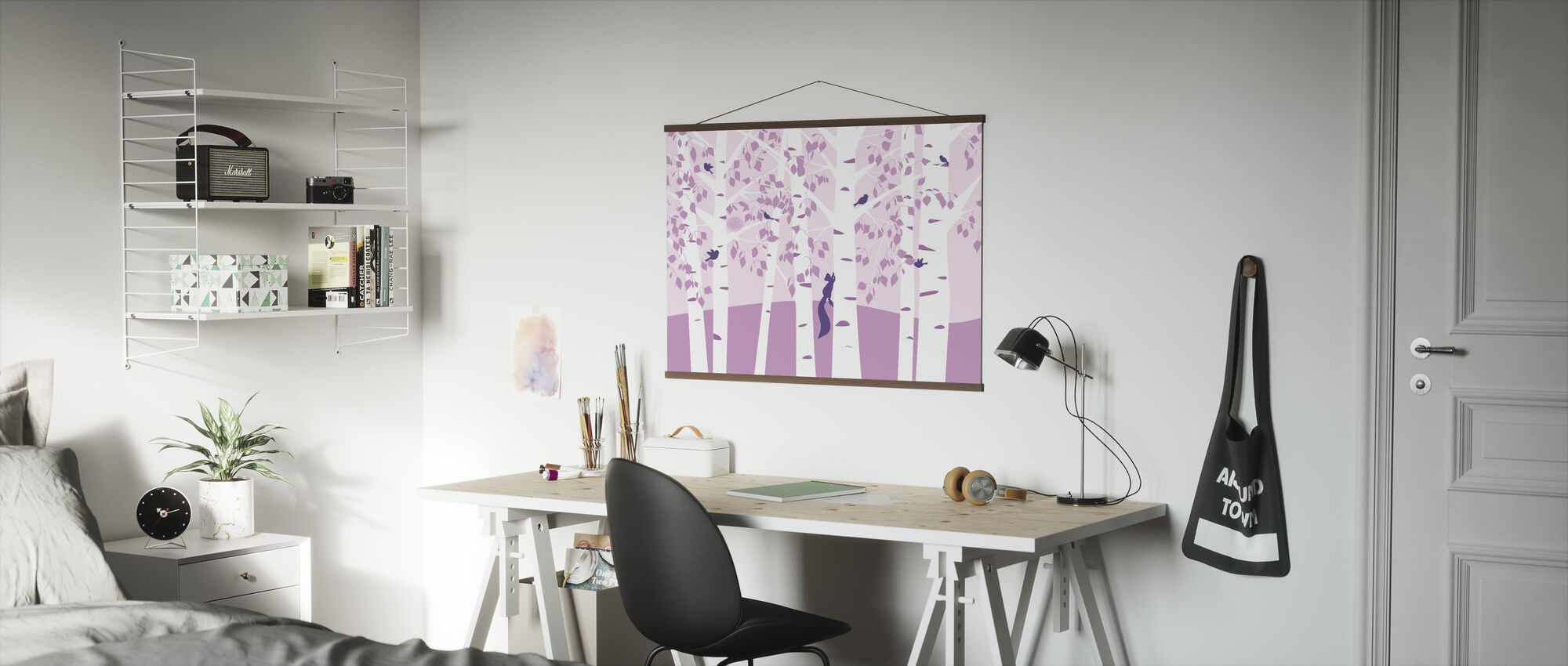 Birch Forest - Pink - Poster - Office