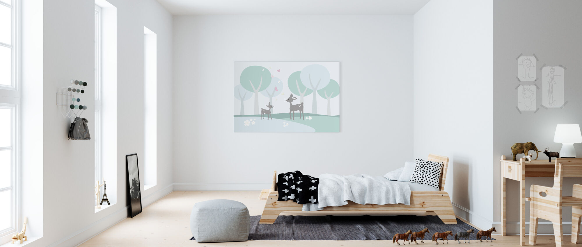 Deer in Woods - Canvas print - Kids Room