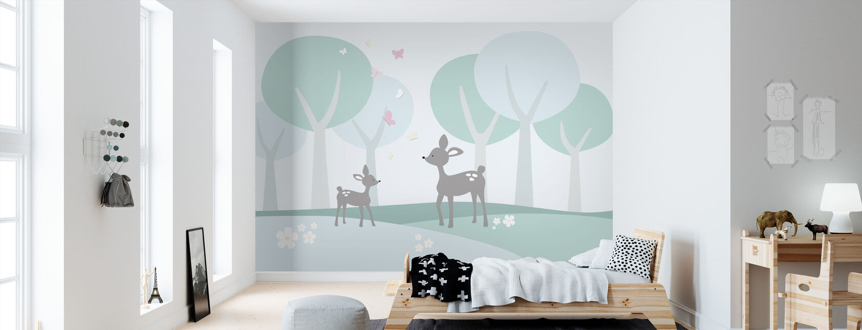 Herten in Woods - Behang - Kinderkamer