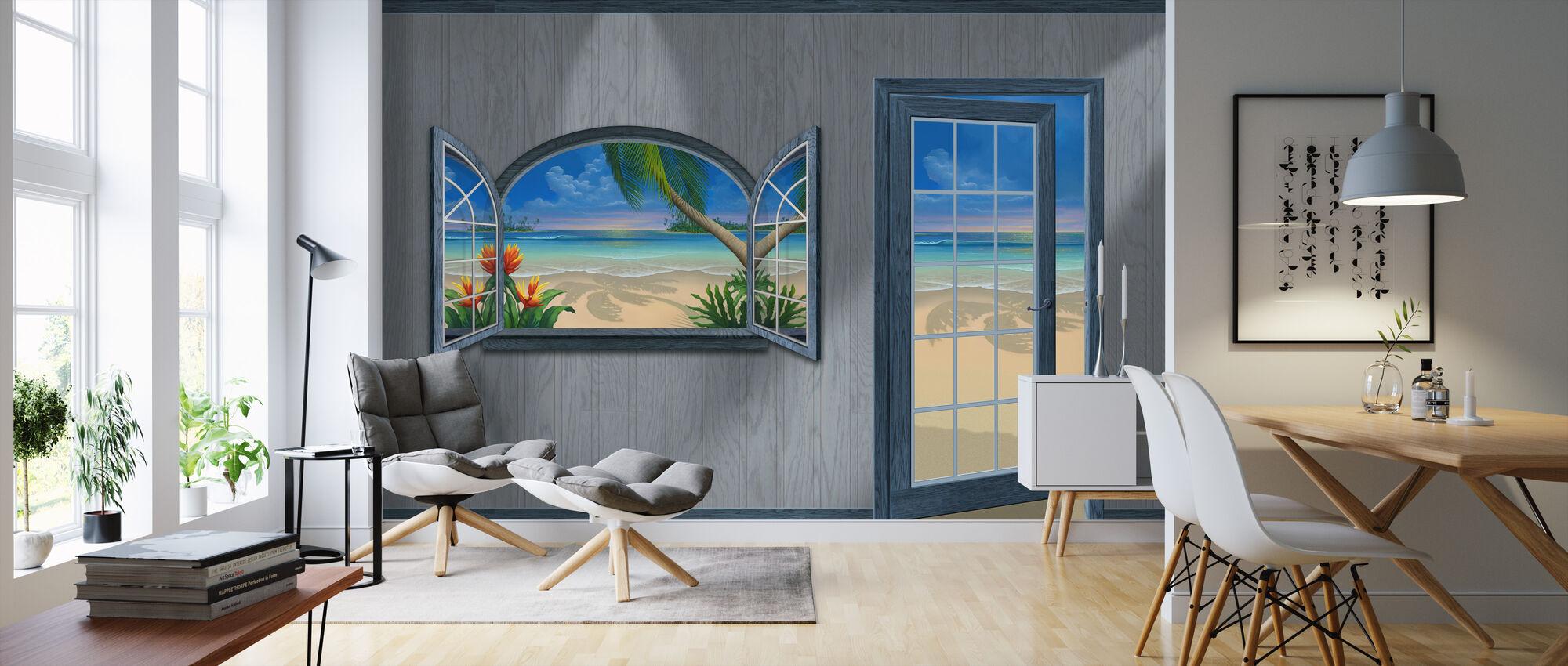 Blick auf das Paradies-Beachwood Grey - Tapete - Wohnzimmer