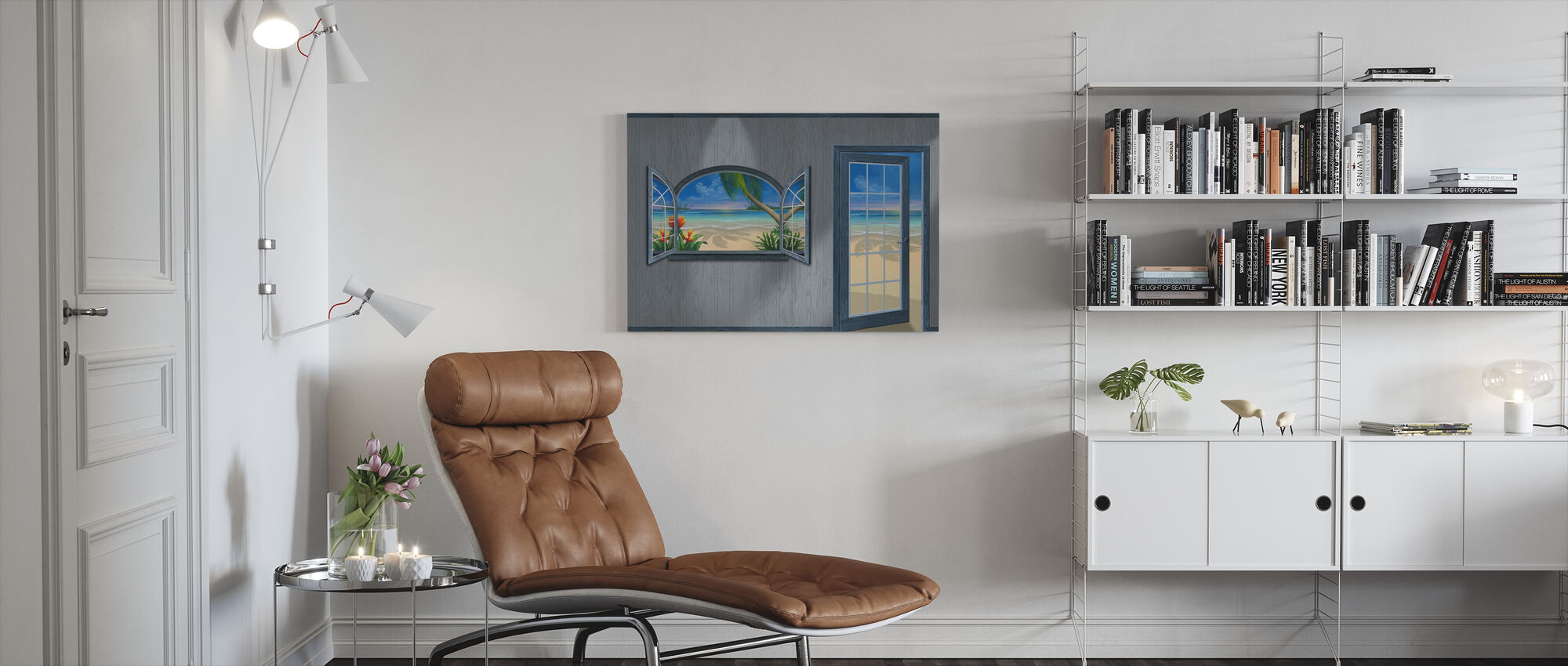 View of Paradise-Beachwood Grey - Canvas print - Living Room