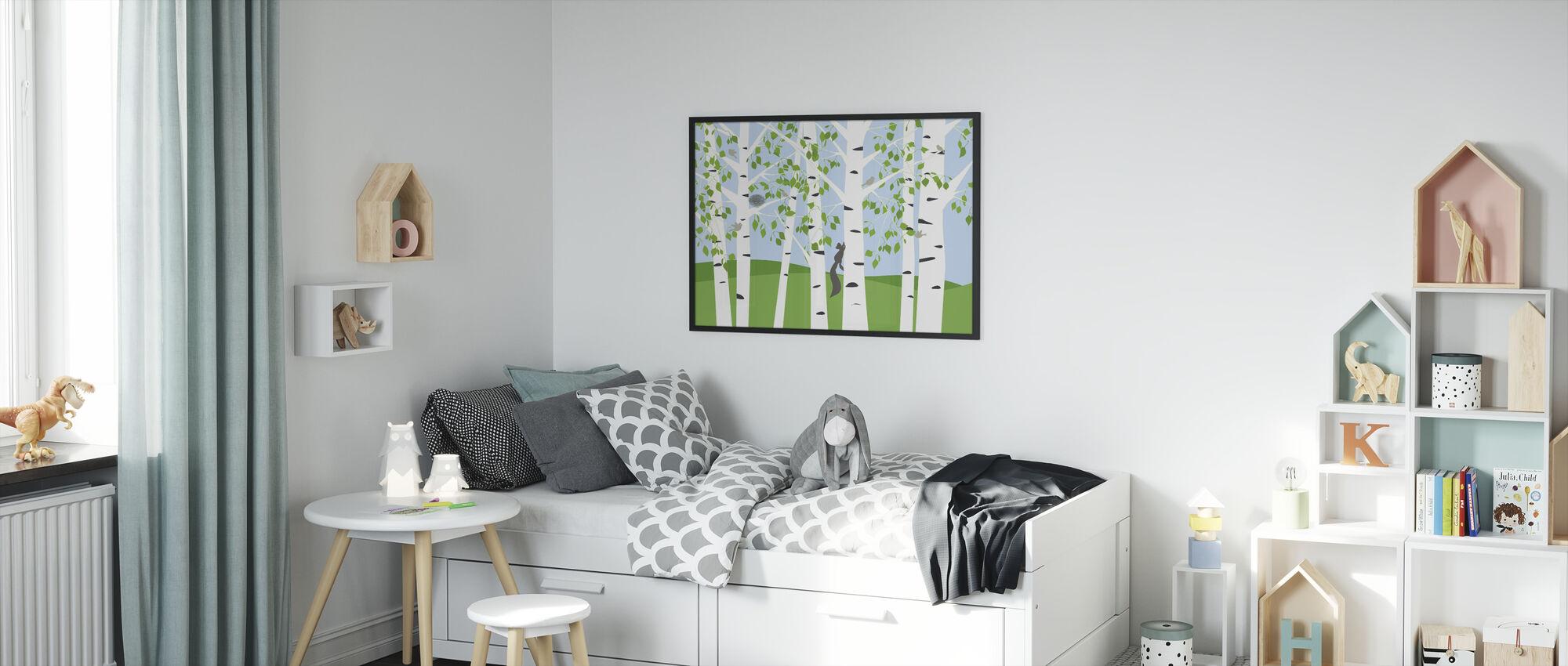 Birch Forest Spring - Framed print - Kids Room