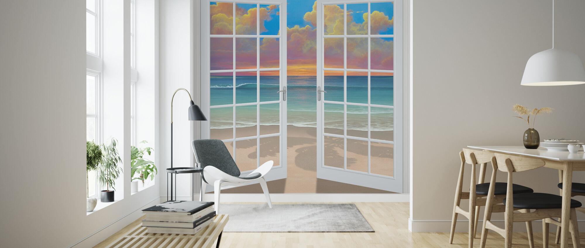 Zonsondergang door venster - Behang - Woonkamer