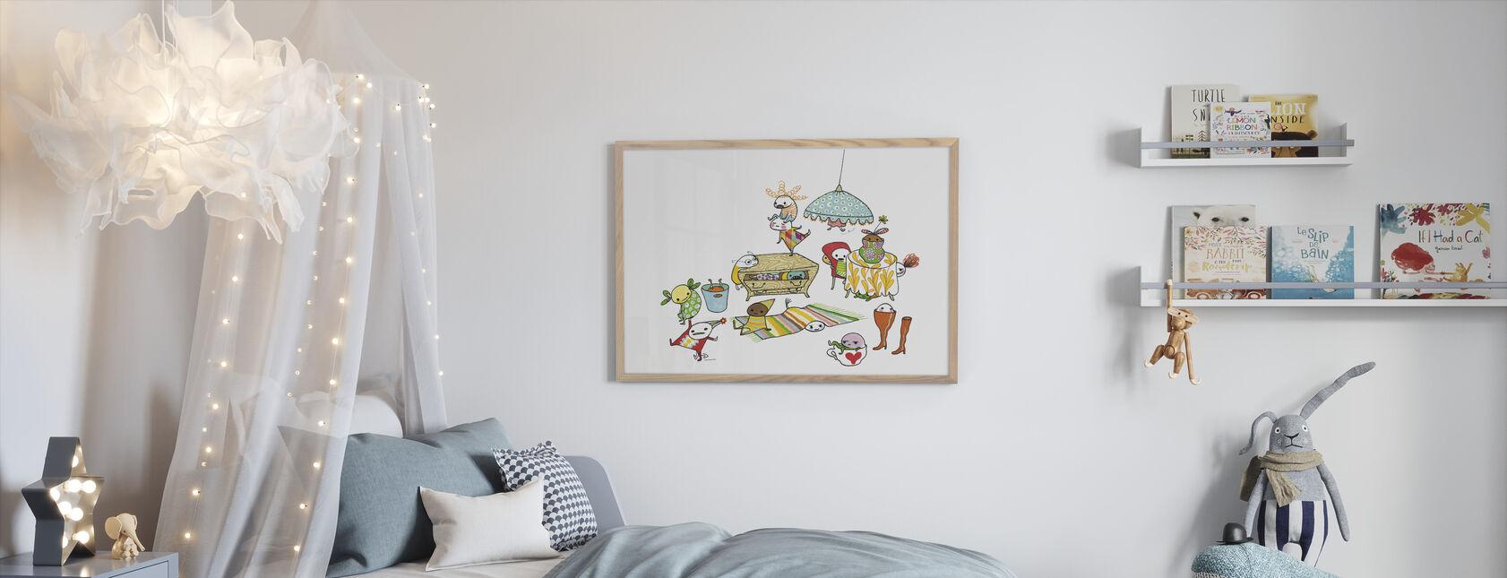Motley Bus - Ingelijste print - Kinderkamer