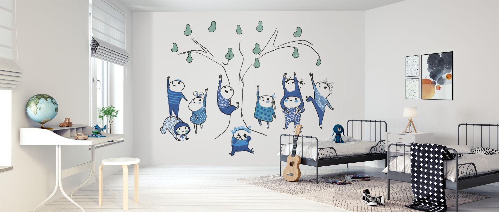 Nine Small Blue Can Not Reach - Wallpaper - Kids Room