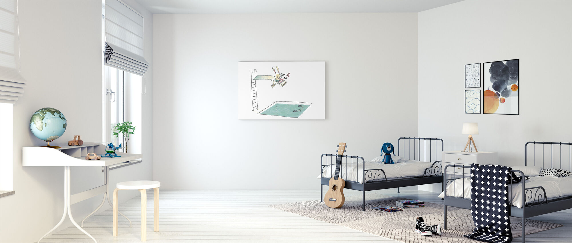 On the Trampoline Near The Rabbit - Canvas print - Kids Room