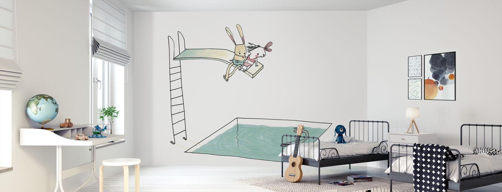 On the Trampoline Near The Rabbit - Wallpaper - Kids Room