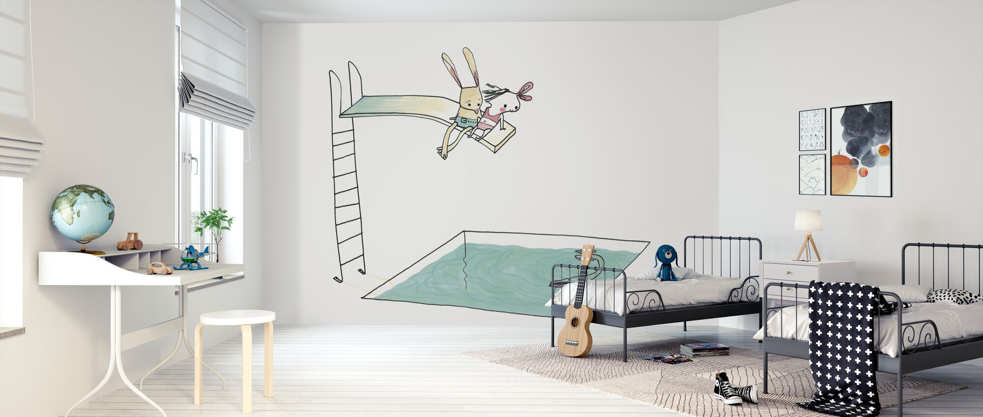 On the Trampoline Near The Rabbit - Wallpaper - Kids Room