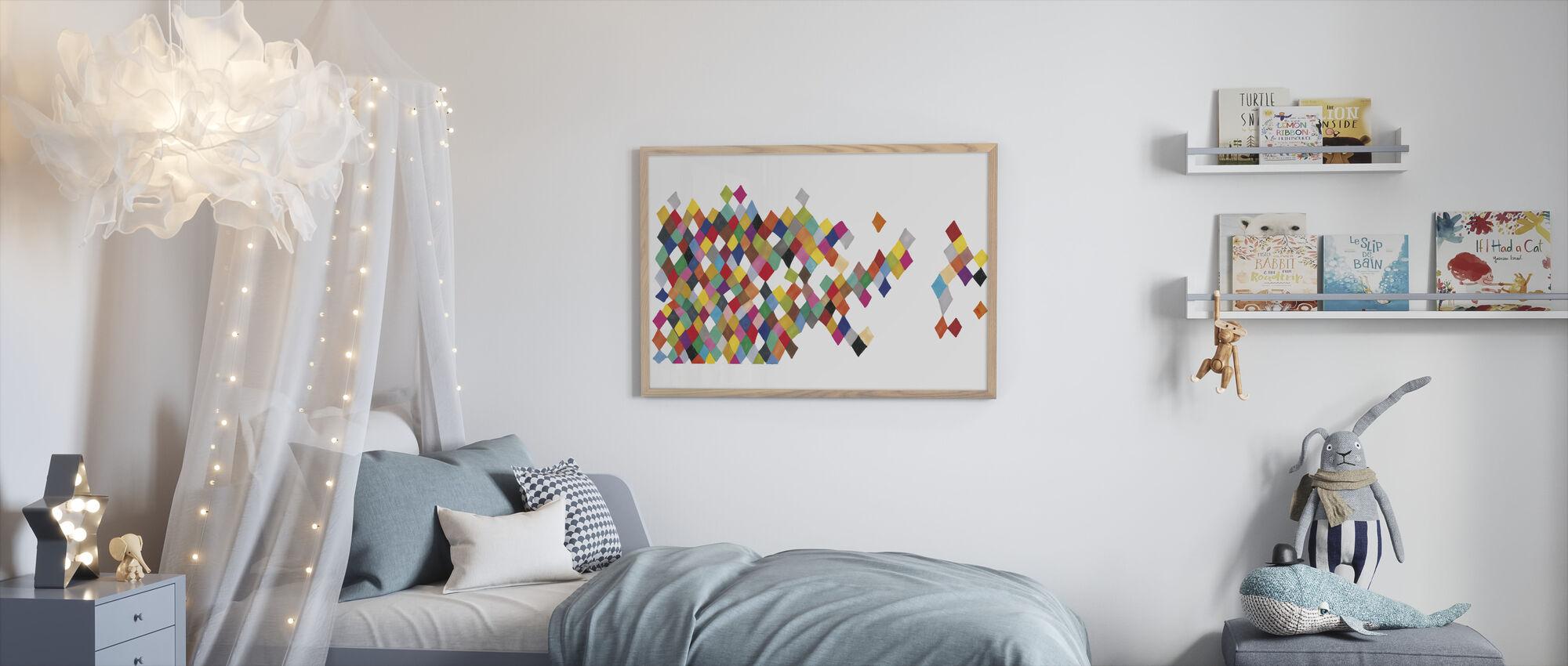 Motley Harlequin Motley Boxes - Framed print - Kids Room