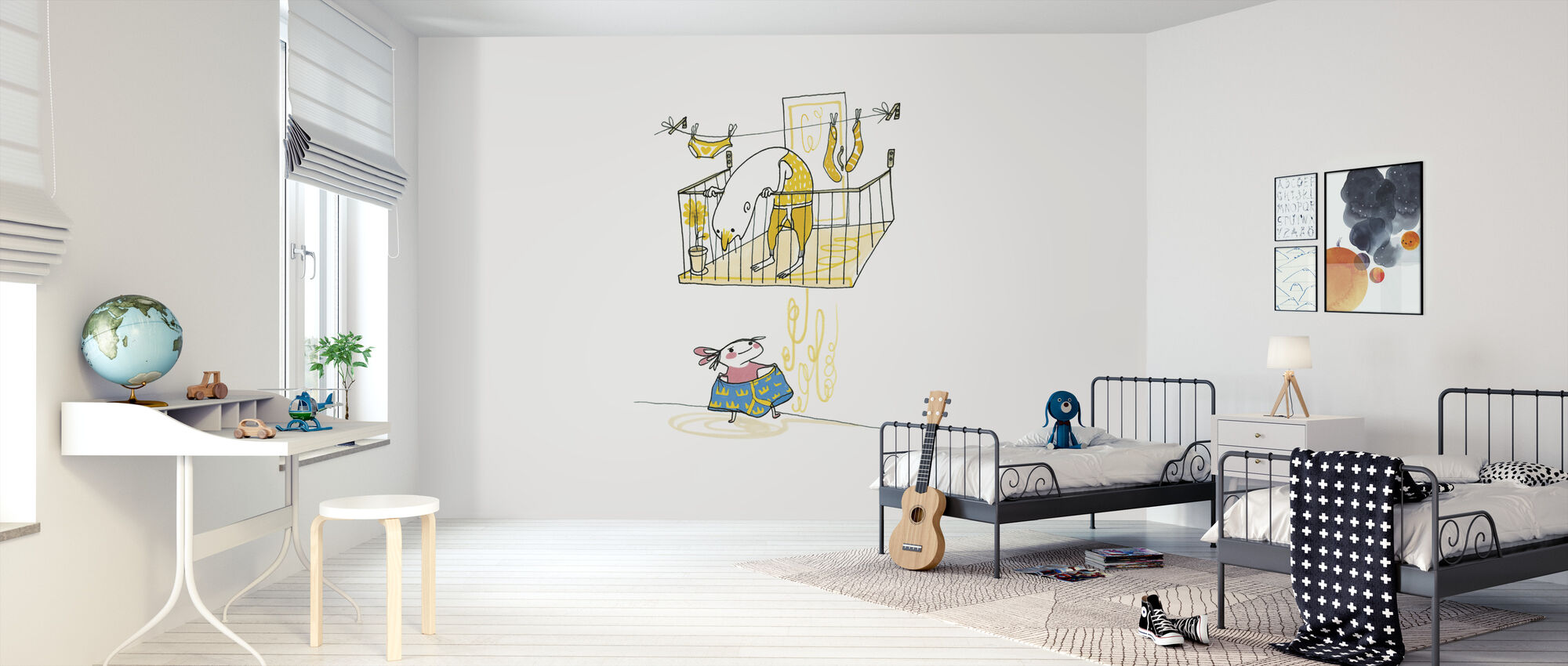 Under the Balcony in the middle of the underwear - Wallpaper - Kids Room